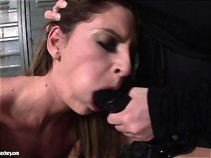 Kathia Nobili lets a molten lady fellate her strap on